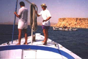 Trevor on a old style dive boat (Suez working boat) at Temple, 1991